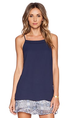 BCBGeneration Side Ruffle Tank in Deep Blue
