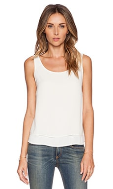 BCBGeneration Woven Tank in Whisper White
