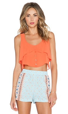 BCBGeneration Flowy Button Up Top in Hot Coral