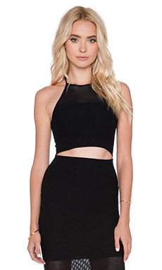 BCBGeneration Mesh Crop Top in Black