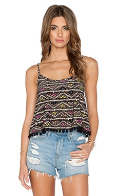 BCBGeneration Pom Pom Trim Crop Top in Natural Combo