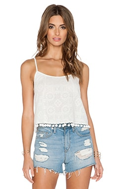 BCBGeneration Pom Pom Trim Crop Top in Whisper White