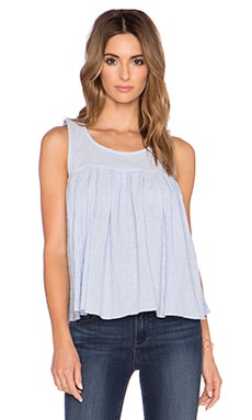 BCBGeneration Shirred Babydoll Top in Sky Blue Combo
