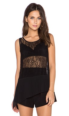 BCBGeneration Asymmetrical Pleated Tank in Black