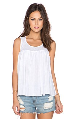 BCBGeneration Shirred Babydoll Top in Optic White