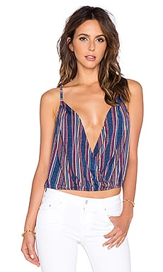 BCBGeneration Stripe Crossover Tank in Deep Blue Multi