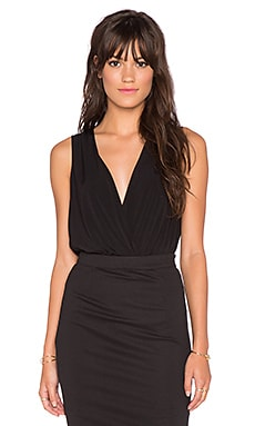 BCBGeneration Low V Neck Bodysuit in Black