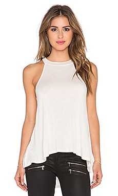 BCBGeneration Hi Low Halter Tank in Whisper White