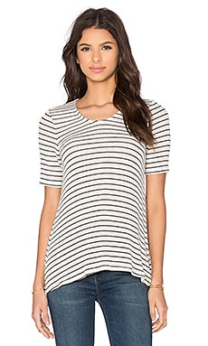 BCBGeneration Stripe Tee in Whisper White Combo