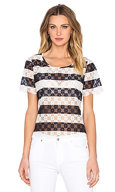 BCBGeneration Striped Lace Top in Deep Blue Combo