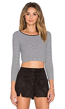 BCBGeneration Seamless Crop Top in Black Combo