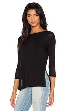 Side Slit Tee in Black