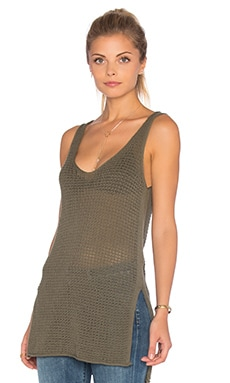 Slit Tank in Dusty Olive