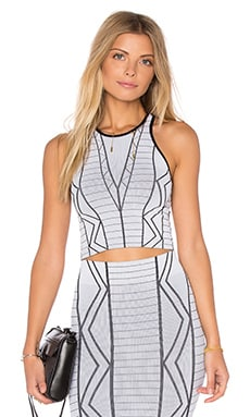 BCBGeneration Geometric Crop Top Tank in White Combo
