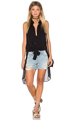 Elongated Button Up Top in Black