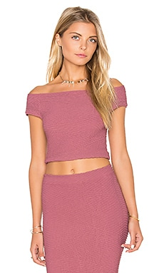 BCBGeneration Off Shoulder Crop Top in Mauve