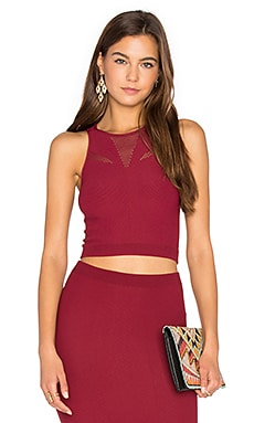 Mesh Crop Tank in Dark Rouge