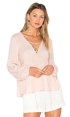 Lace Up Blouse en Rose Smoke