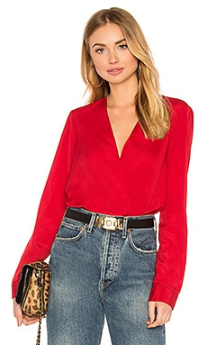 Shirt Cuff Surplice Top In Chili Pepper