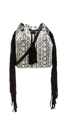 BCBGeneration La Vie Boheme Mini Bucket Bag in White Snake