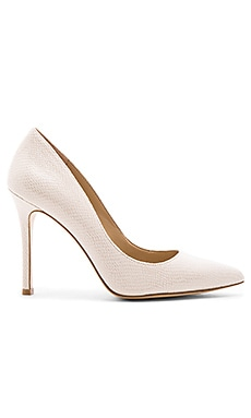 BCBGeneration Treasure Heel in White Smooth Snake