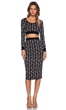 Black Halo Pressly Two Piece Set in Black Chevron