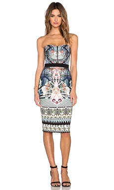 Black Halo Marciano Strapless Dress in Brindisi Print