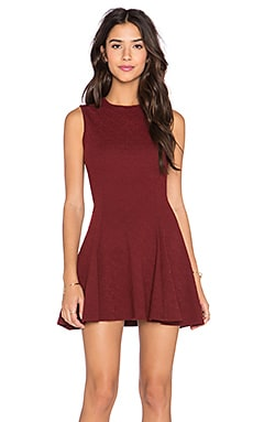 Bishop + Young Fit N Flare Mini Dress in Burgundy