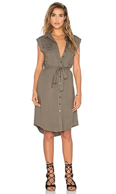Maia Sleeveless Military Dress in Olive