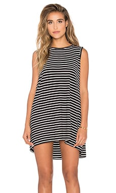 Bishop + Young Knit Crossback Dress in Black Stripe