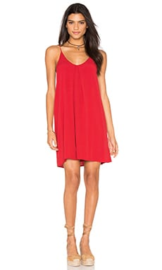 Inverted Pleat Solid Dress in Red