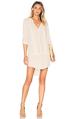 Embroidered Shirt Dress in Ivory