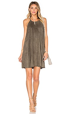Suede High Neck Shift Dress in Olive