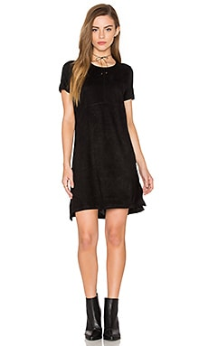 Short Sleeve Knit & Suede Dress