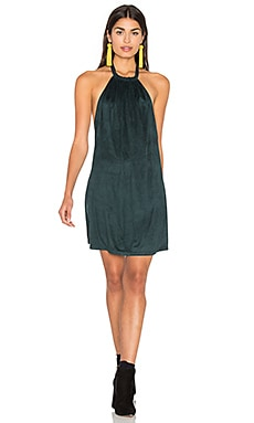 Suede Halter Dress in Emerald Green