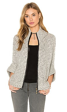 Ana Zip Up Cape Sweater in Grey