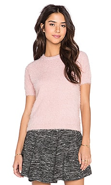 Bishop + Young Fluffy Short Sleeve Sweater in Pink