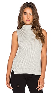 Bishop + Young Gemma Mock Neck Sleeveless Sweater in Grey