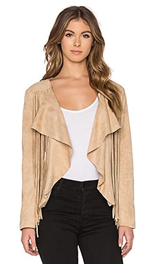 Fringe Suede Jacket in Sand