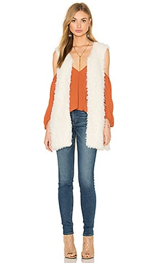 Faux Fur Vest in Sand