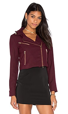 Bishop + Young Cropped Moto Blazer in Burgundy