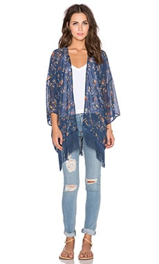 Bishop + Young Floral Kimono in Teal Print