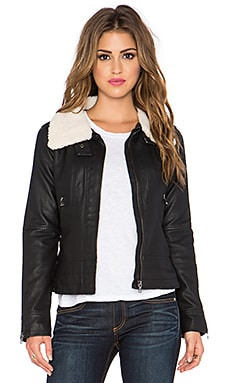 Bishop + Young Faux Fur Collar Moto Jacket in Black