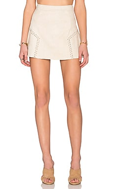 Lily Side Stitch Mini Skirt in Cream