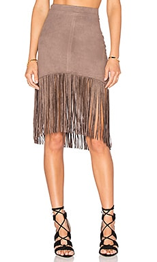 Suede Fringe Skirt in Taupe
