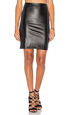 Bishop + Young Vegan Leather Pencil Skirt in Black