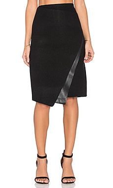 Bishop + Young Vegan Leather Wool Skirt in Black
