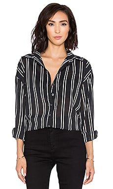 Oversized Button Down in Black Stripe
