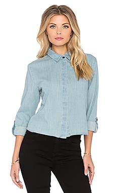 Bishop + Young Marlow Crop Denim Button Up in Blue