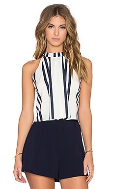 Striped High Neck Crop Tank in Navy Stripe